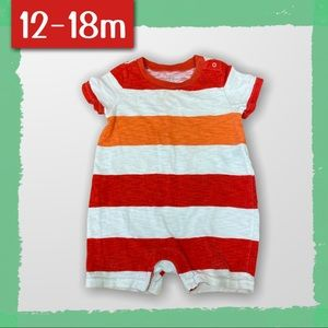 🇨🇦 Red and Orange striped shorts romper